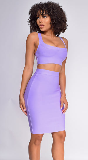 Milly Lavender Purple Bandage Top And Skirt Set