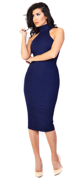 Mock Neck Navy Midi Dress - Emprada