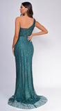 Malaysia Emerald Green One Shoulder Sequin Glitter Slit Gown