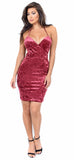 Rose Wine Crushed Velvet Dress - Emprada