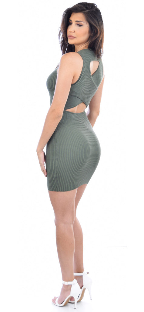 Olive Ribbed Cross Back Tank Dress - Emprada