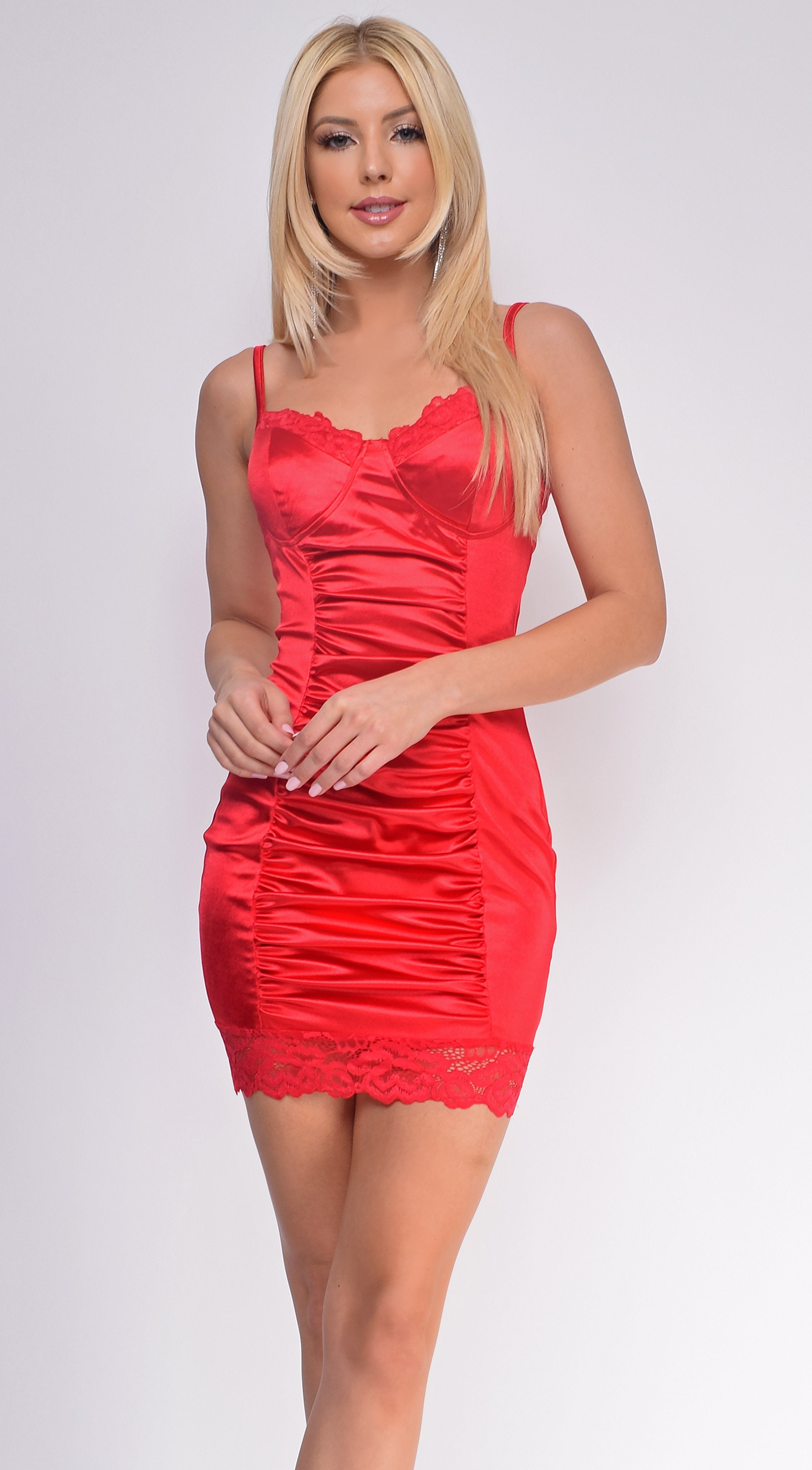 Makella Red Corset Ruched Satin Dress