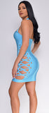 Mura Blue Lace Up Bandage Dress