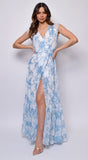 La Palma Blue White Cap Sleeve Wrap Maxi Dress