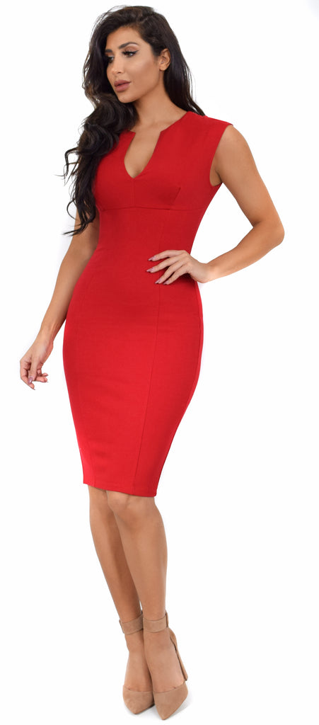 08e267b272 Iris Red V Neck Midi Dress - Emprada