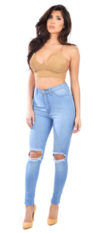 Knee Distressed High Waist Skinny Jeans - Emprada