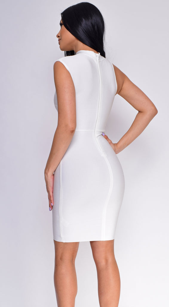 Tulana White High  Neck Cut Out Bandage Dress