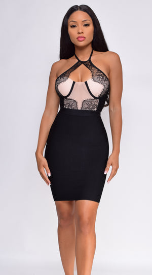 Alvita Black Nude Lace Mesh Detail Halter Bandage Dress