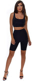 Kesara Black Biker Top And Short Set