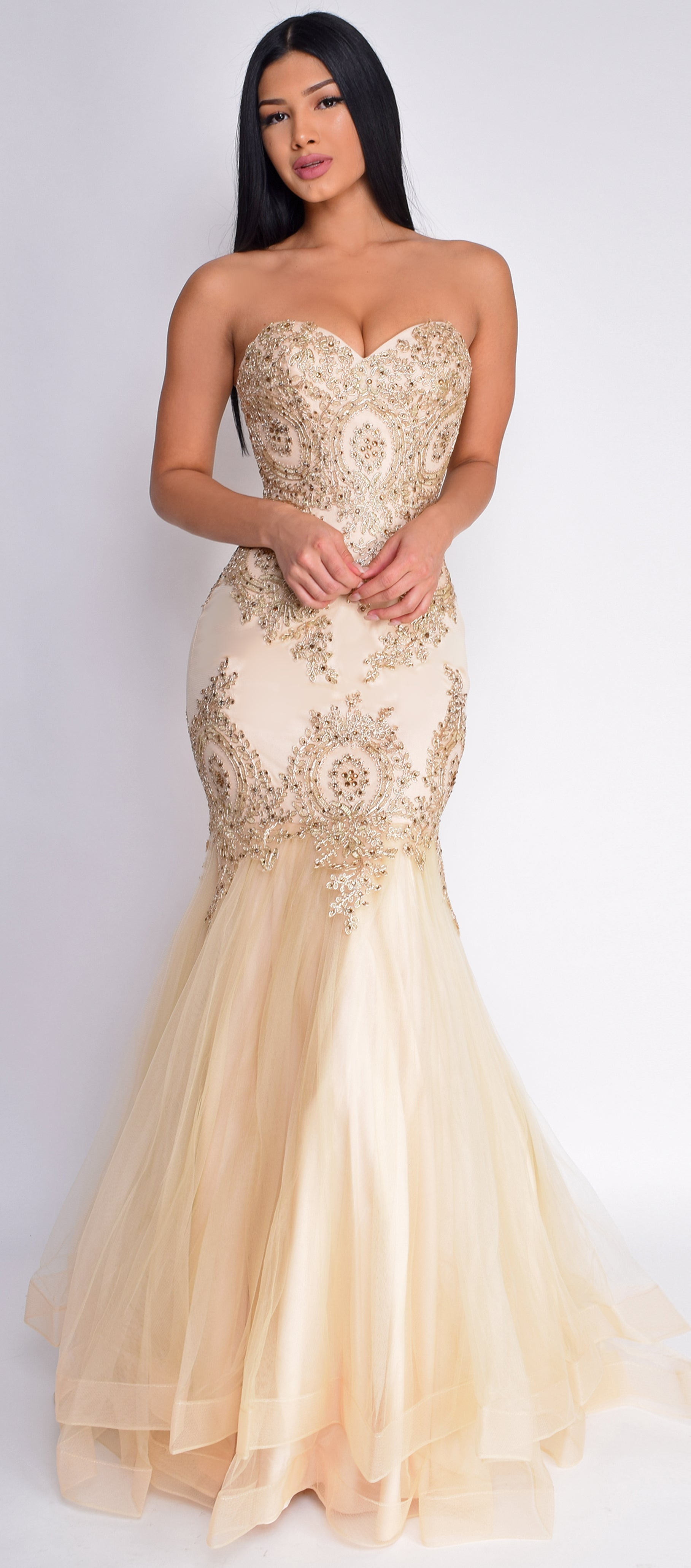 Ambra Champagne Gold Embellished Gown
