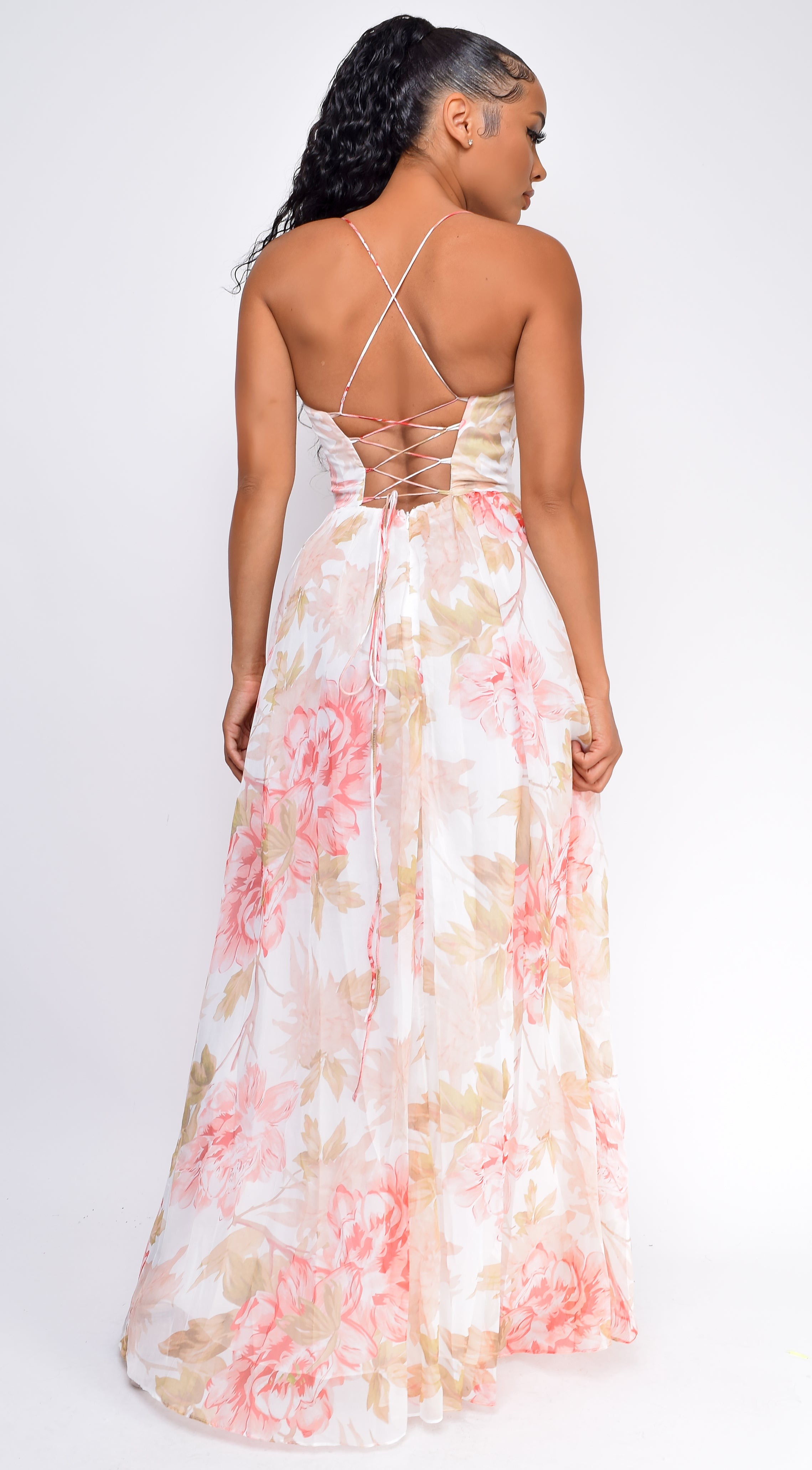 Melinda White Pink Floral Lace Back  Side Slit Maxi Dress