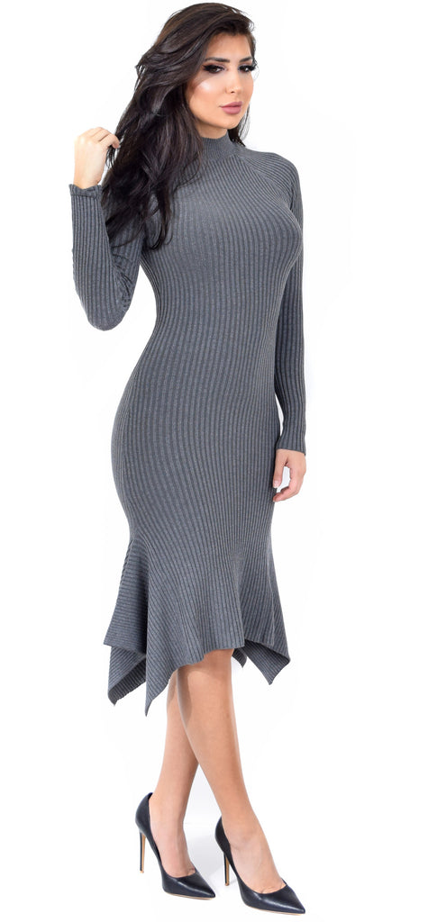 Grey Mock Neck Ribbed Flare Dress