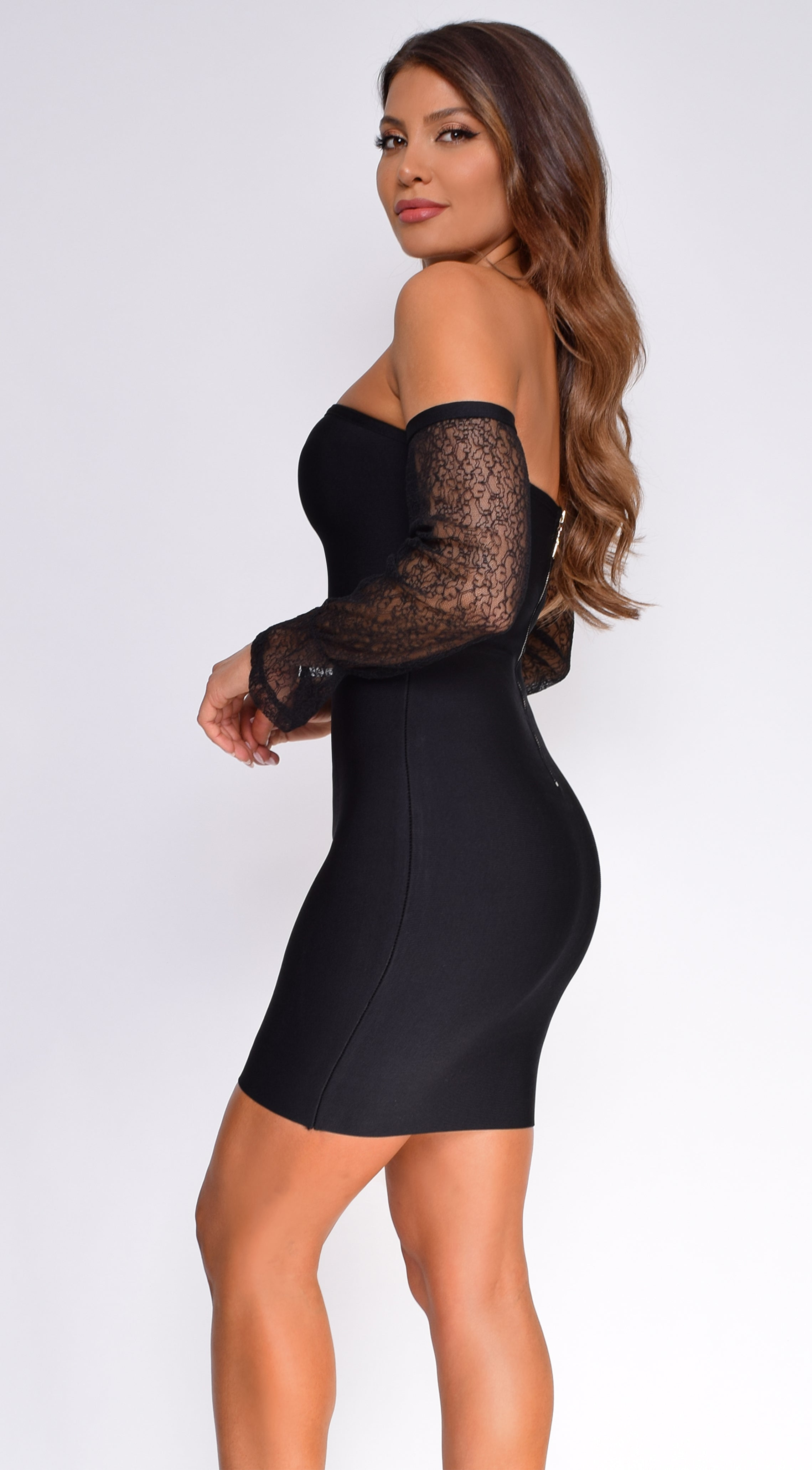 Mckinnon Black Mesh Sleeve Bandage Dress