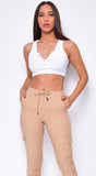 Kelle White Button Knit Ribbed Crop Top