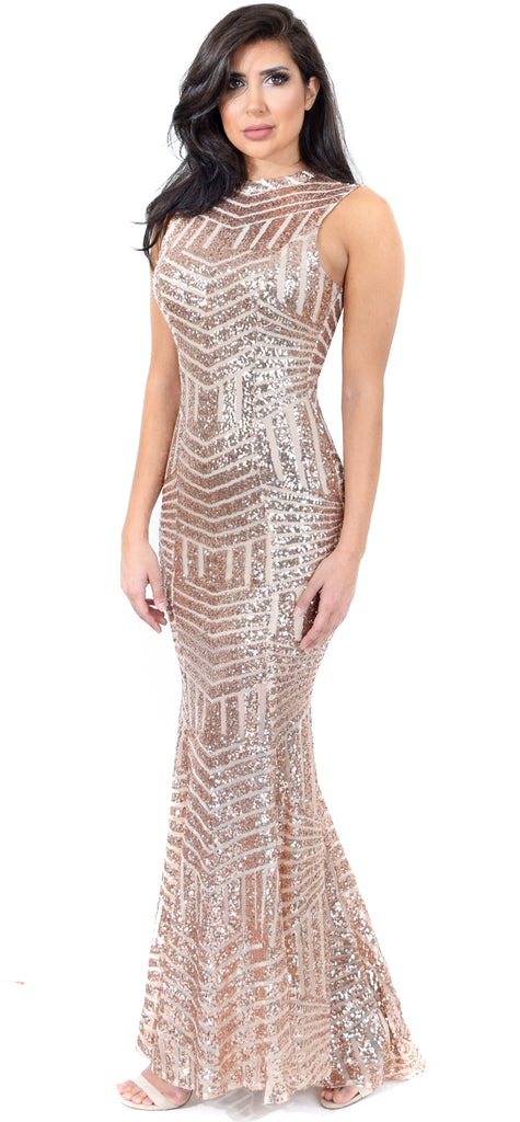 Yara Rose Gold Sequin Open Back Gown - Emprada