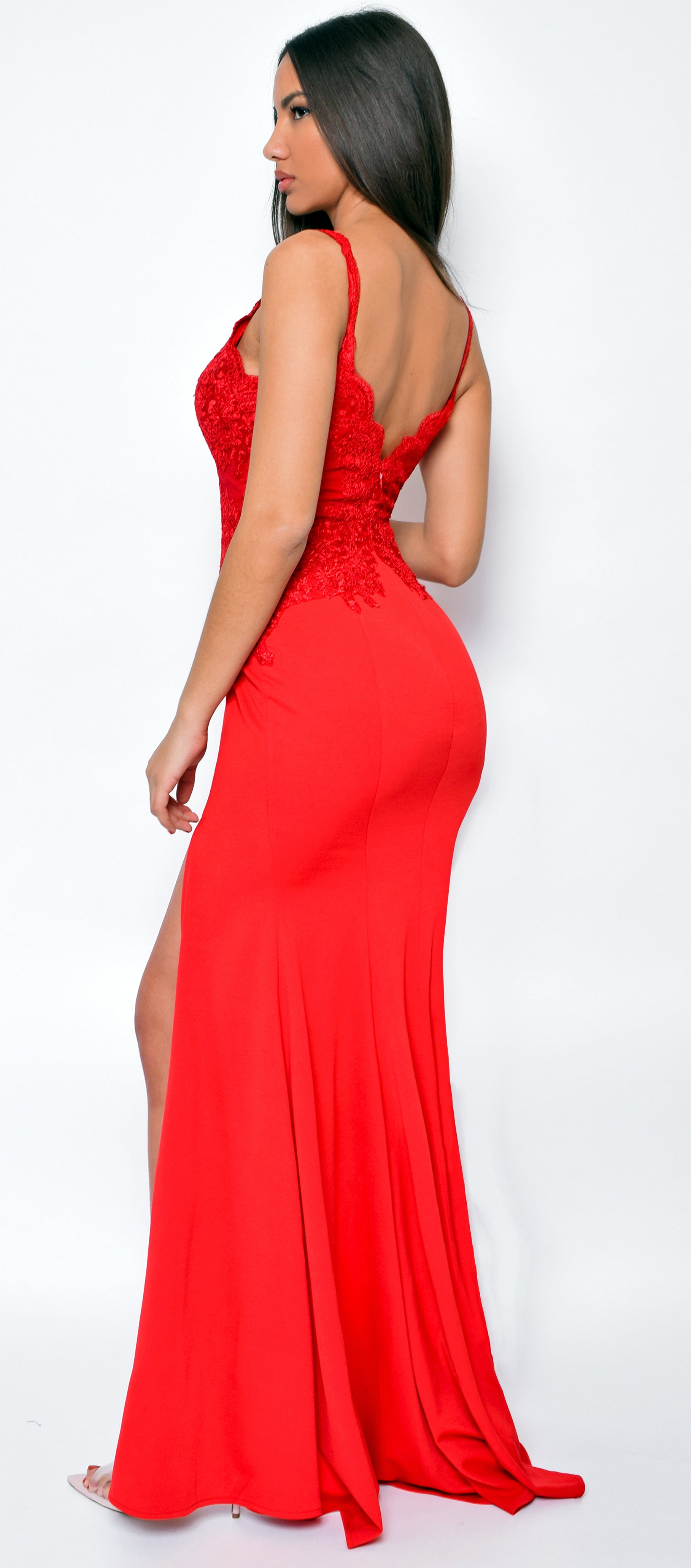 Jaylah Red Lace Slit Gown