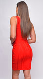 Jocelyn Red One Shoulder Bandage Dress