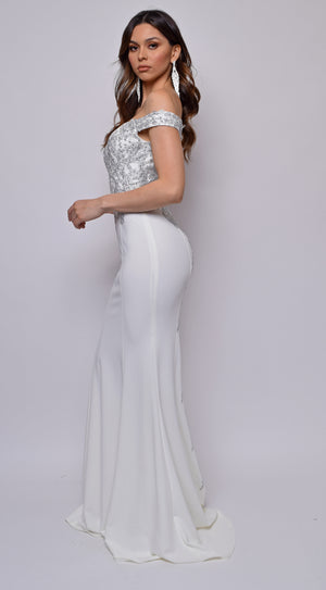 Ensley Off White Off Shoulder Silver Lace Detail Gown
