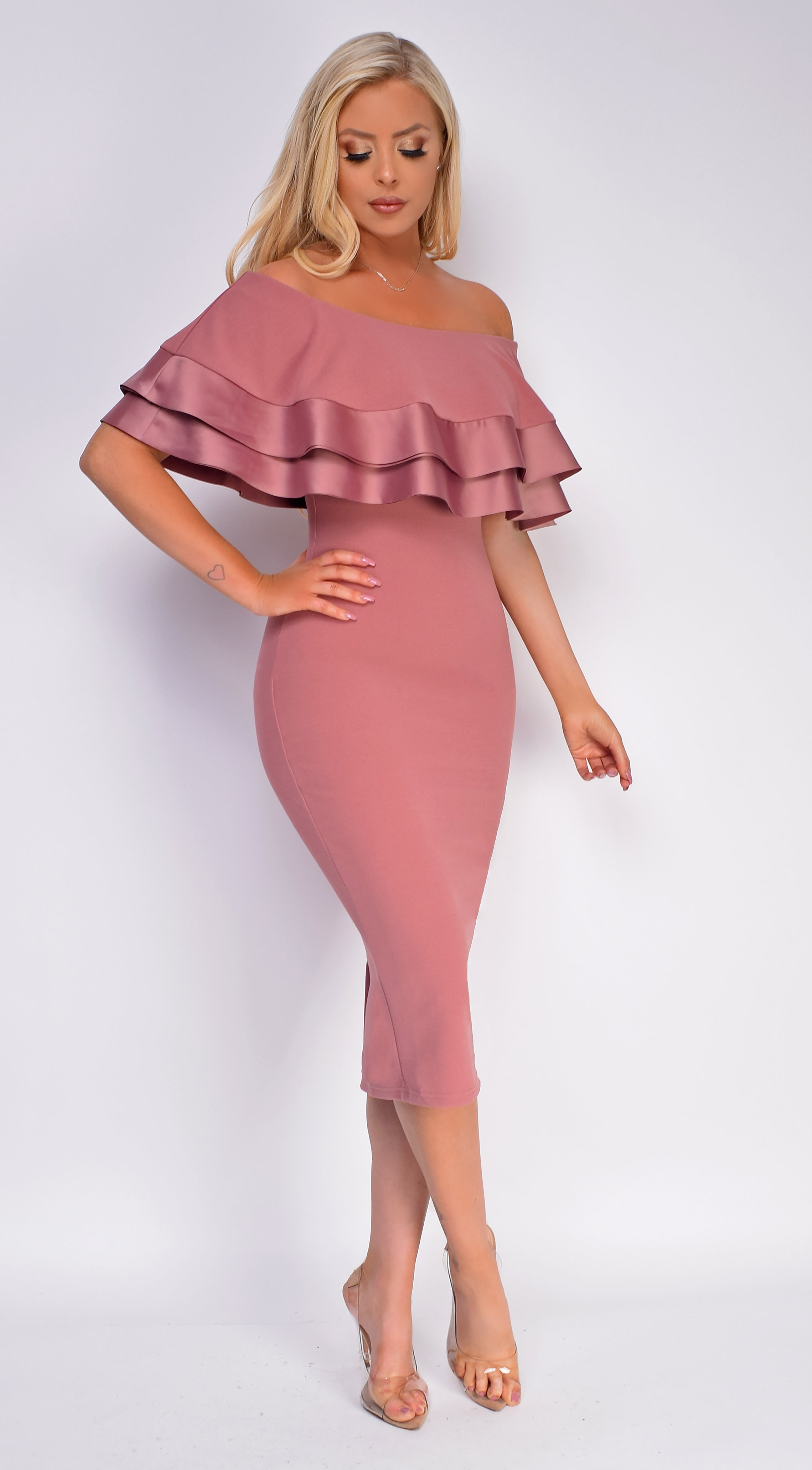 Raylin Pink Satin Trim Ruffle Off Shoulder Midi Dress
