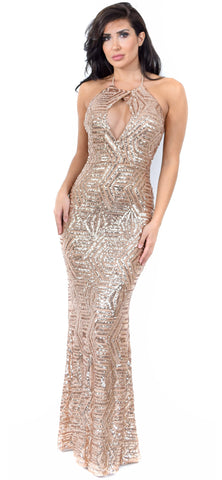 Chantal Gold Sequin Gown