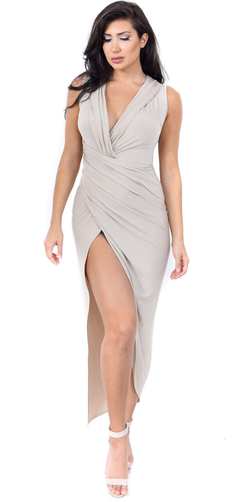 Leilani Taupe Wrap Maxi Dress - Emprada