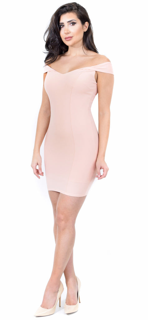 Adriah Blush Off Shoulder Dress - Emprada
