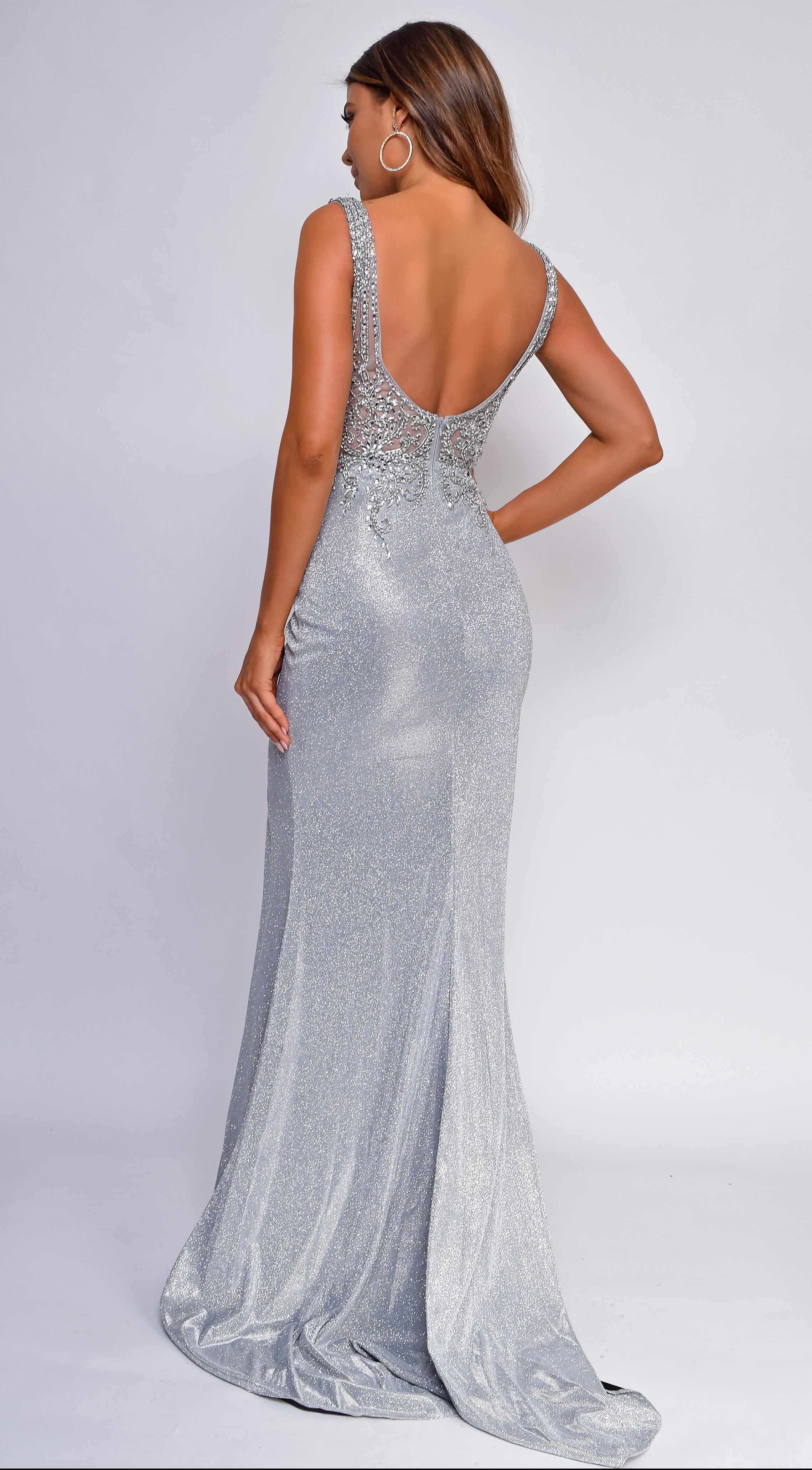 Lisburn Silver Beaded Slit Gown