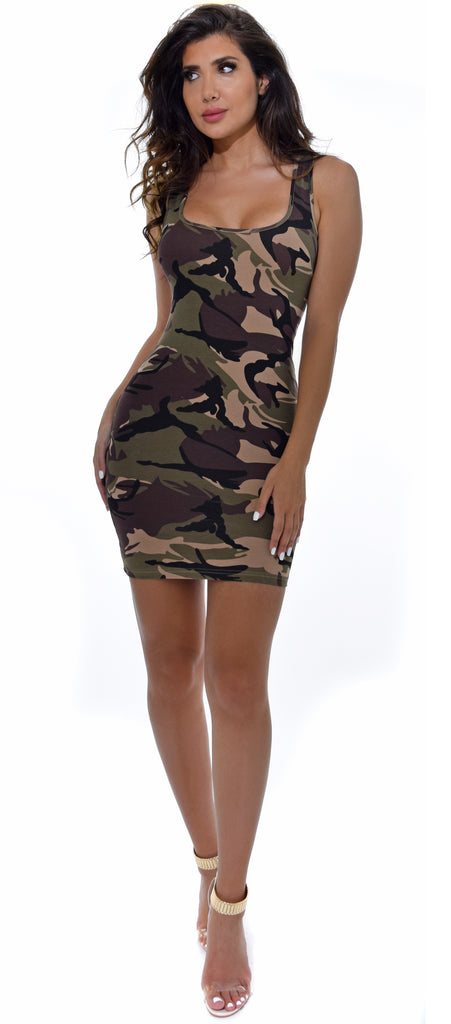 Alani Green Camo Basic Dress - Emprada