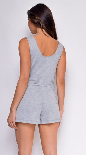 Chaya Grey Pocket Sleeveless Romper
