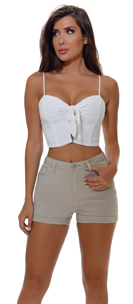 Zerina White Tie Crop Top