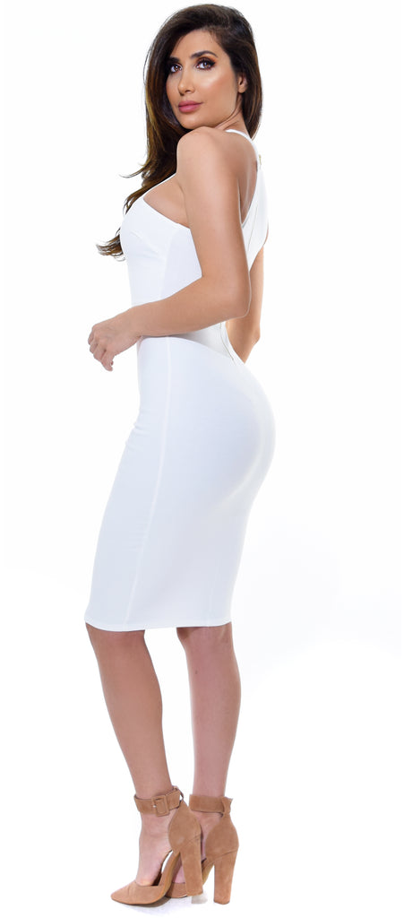 Giada White Strappy High Neck Dress - Emprada