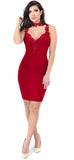 Roanne Red Lace Trim Dress - Emprada