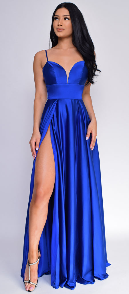Peighton Royal Blue Double Slit Satin Gown