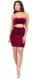 Wine Velvet Choker Dress - Emprada