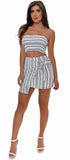 Dominica White Navy Stripe Top And Skirt Set - Emprada
