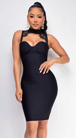 Forbidden Black High Neck Lace Detail Bandage Dress