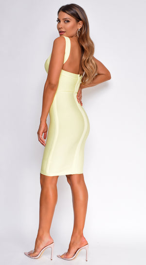Pascale Yellow Cross Over Bandage Dress