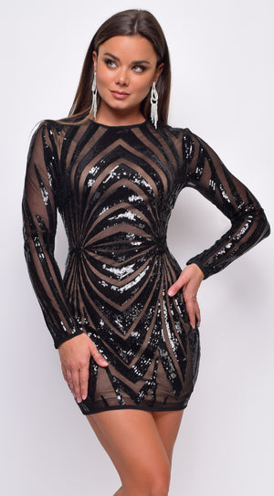 Khristen Black Nude Sequin Mesh Open Back Mini Dress