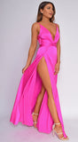 Niya Magenta Pink Satin Twist Double Slit Maxi Dress