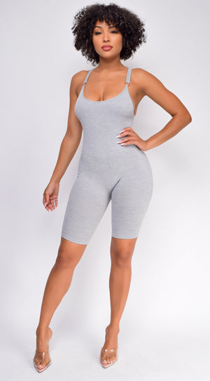 Now Or Never Grey Shaping Bodysuit Romper