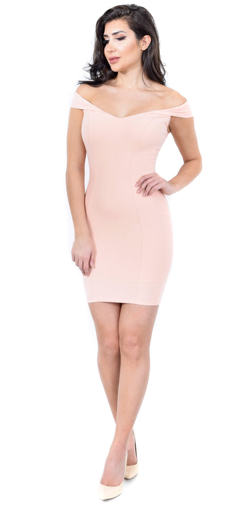 Adriah Blush Off Shoulder Dress