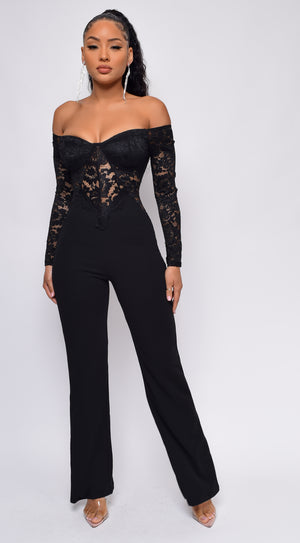Adonai Black Off Shoulder Jumpsuit