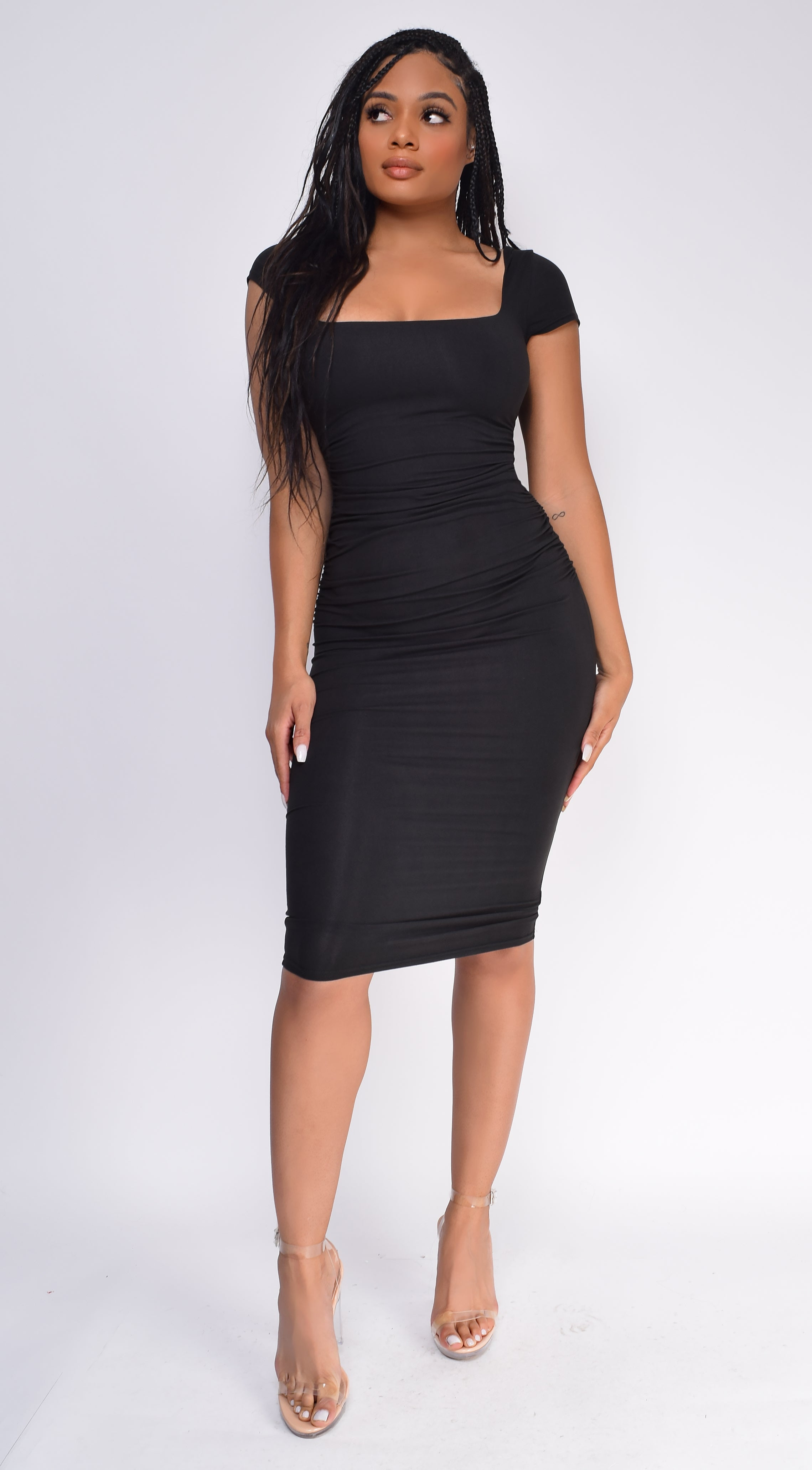 Lyna Black Square Neck Short Sleeve Dress
