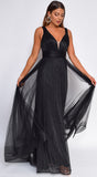 Philomena Black Pleated Metallic Gown