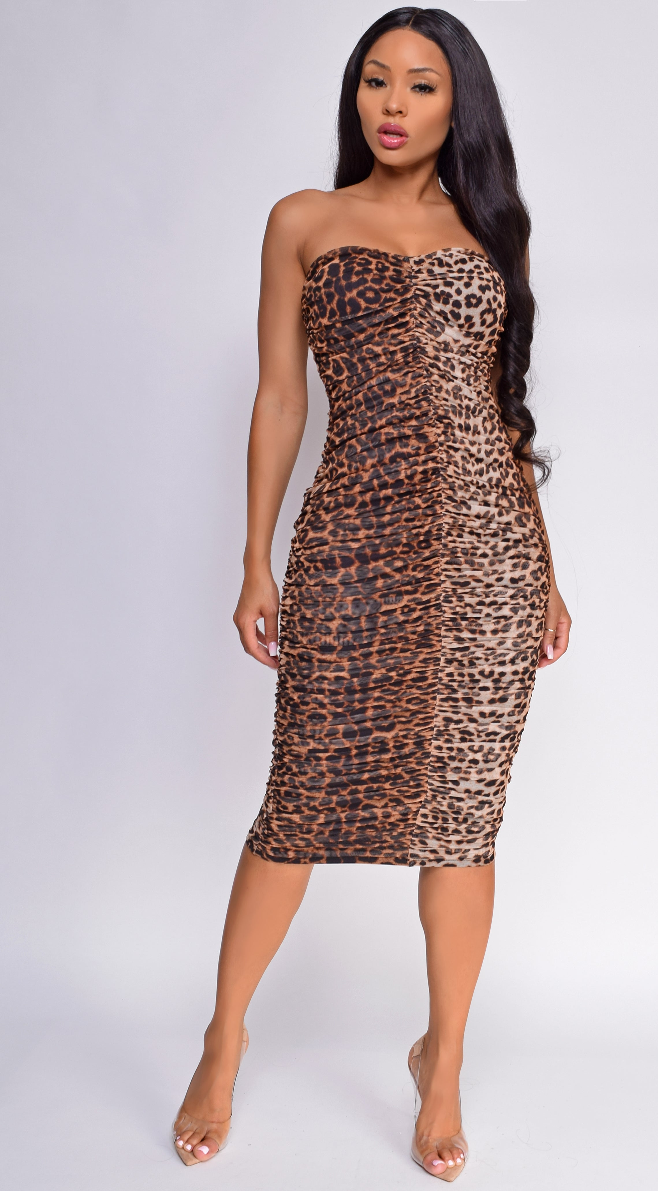 Mylah Leopard Brown Mesh Ruched Dress