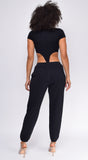 Stiles Black Scoop Neck High Cut Bodysuit