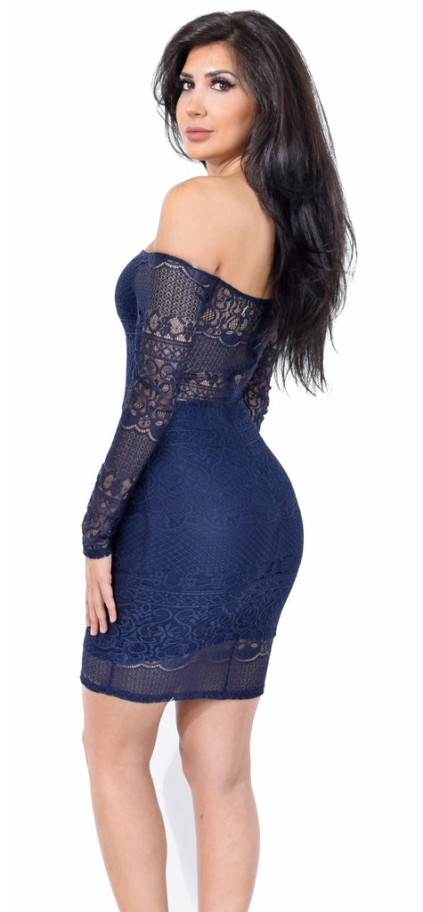 Nevara Off Shoulder Navy Lace Dress