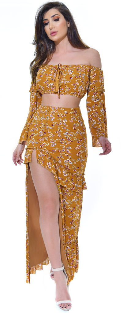 Weekend Getaway Mustard Floral Boho Top and Skirt Set - Emprada