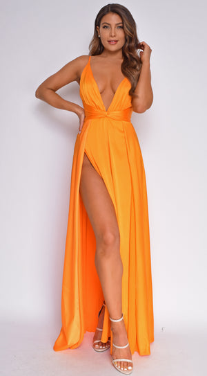 Niya Orange Satin Twist Double Slit Maxi Dress