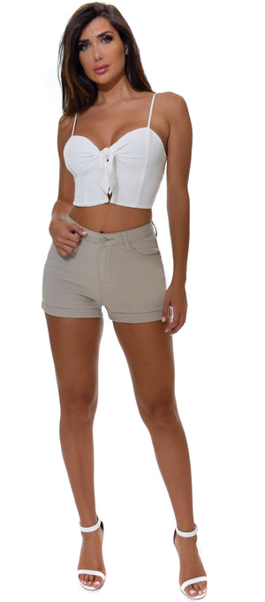 Kai Beige Cuffed High Waist Shorts